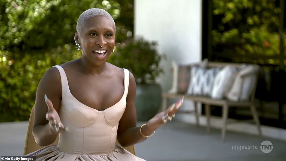 Talented: British actress Cynthia Erivo also took part, and in one segment about padding a resume when starting out, she recalled: ' I put down that I can horse ride, I can sword fight...'