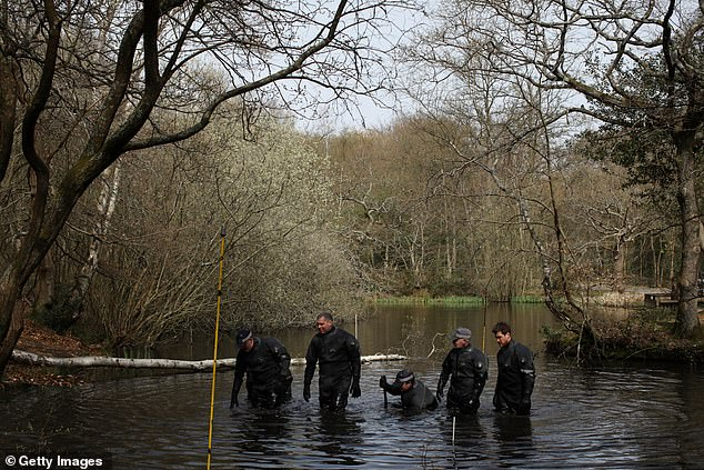 Police search teams search a pond in Epping Forest, Essex. A confirmed sighting of him in Loughton has police searching Epping Forest