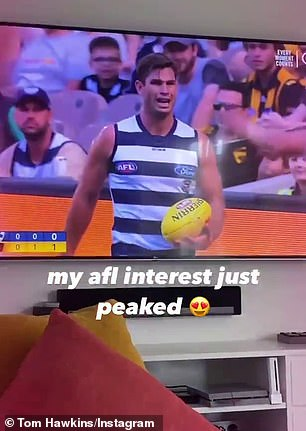 Who's that boy? Christian zoomed in on a particularly handsome player, sharing a short clip to Instagram Stories, captioned: 'My AFL interest just peaked'