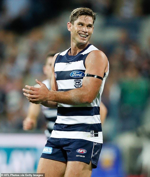 Strapping!The player on screen was none other than strapping Geelong full-forward Tom Hawkins, 32 (pictured)