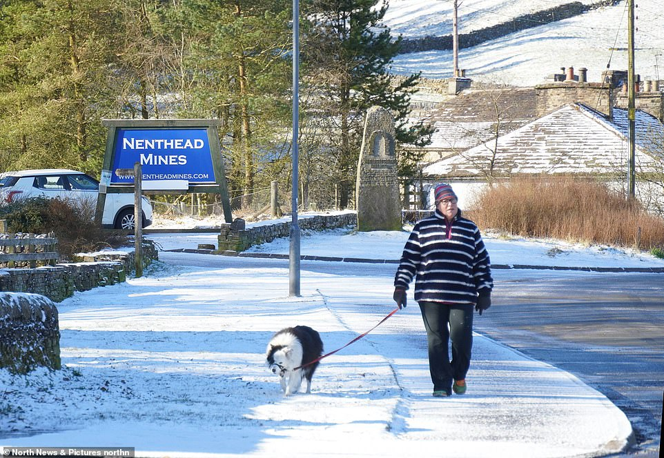CUMBRIA: A dog walker enjoy a stroll in the snow in Nenthead, Cumbria on Easter Monday following overnight snow as the UK enters an 'Arctic trough'