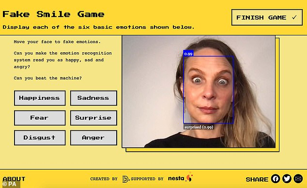 Visitors to the website can play a game which involves pulling faces at their device's camera to try to get the emotion recognition system to recognise the six emotions – happiness, sadness, fear, surprise, disgust and anger