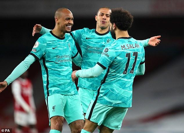 Fabinho (left) and Thiago Alcantara (centre) starred in the Liverpool midfield against Arsenal