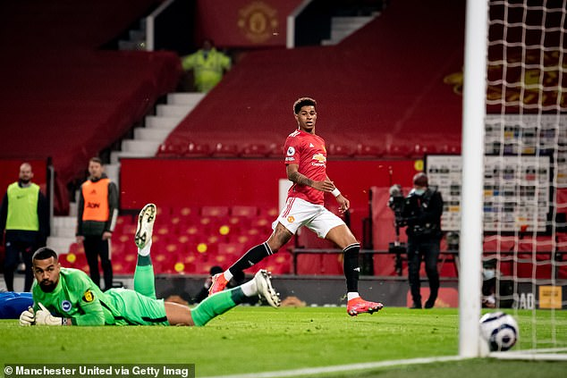 Rashford neatly tucked home to restore parity for United while Fernandes writhed in agony