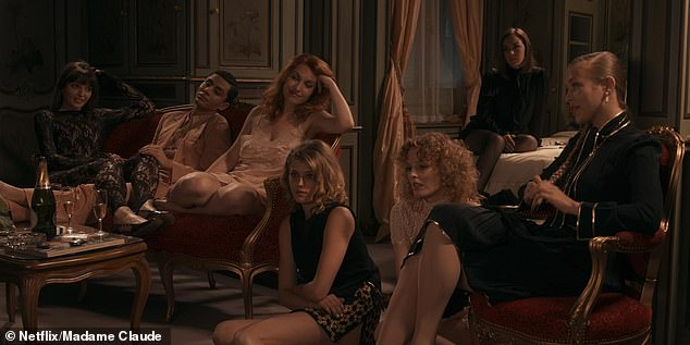 As the reigning Queen of Sex in the French capital between the 1960s and 1970s, the Madame, real name Fernande Grudet, offered a secret and forbidden sexual world to a famous client list. Pictured, the Madame's girls in the film