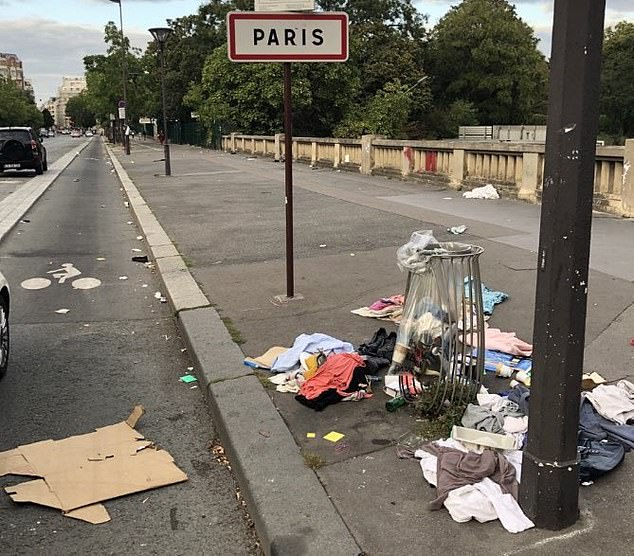 Rubbish is strewn across the streets in Paris, angering local residents