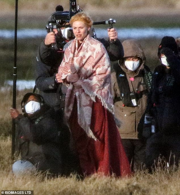 Filming: Claire Danes was joined by her co-star Tom Hiddleston as they filmed scenes for The Essex Serpent in Essex on Monday