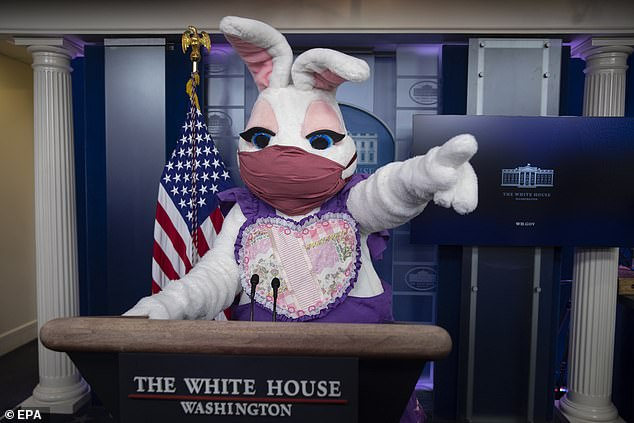 The Easter bunny stands at the podium while visiting the James Brady Press Briefing Room