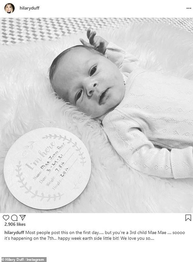 Meet Mae: Duff shared a precious photo of her newborn daughter last week