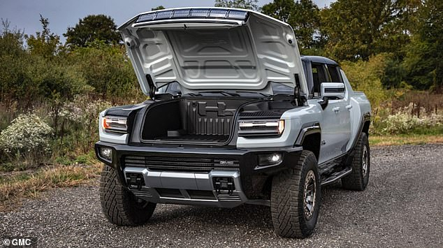 Removable roof panels on the Hummer EV SUV can be stored in the front trunk