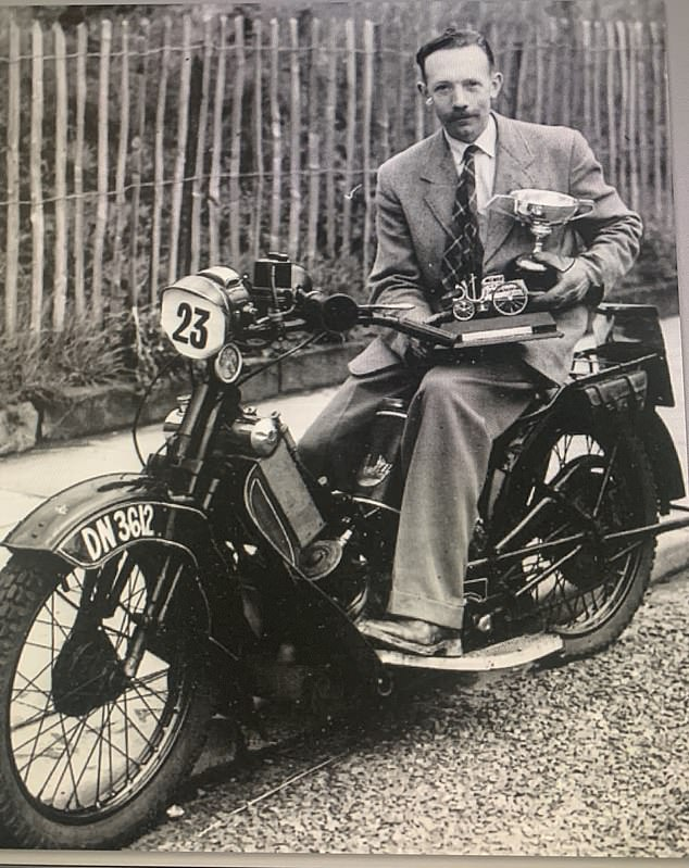 The family of the fund-raiser, who died in January aged 100 and is pictured sitting on a motorbike, want to share his memory in an exhibition