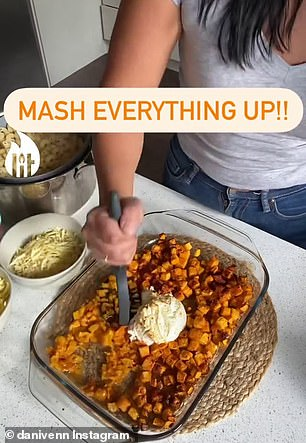 She mashes the ricotta and pumpkin together once it has been baked