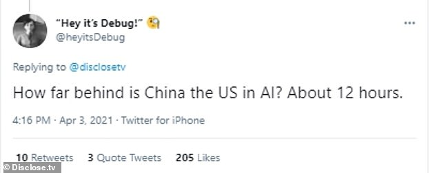 Although the robot is harmless, as of right now, one Twitter user did raise the idea that China is not far behind the US when it comes to AI. The tweet echoes a statement from the US Department of Defense that said  Beijing aims 'to be dominant in the AI space in 2030
