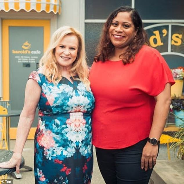 Appearence:Shareena's guest appearance on Neighbours is set to air next week. Pictured Shareena on set withColette Mann