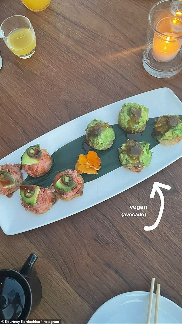Tasty: The mother of three also shared a look at her vegan sushi plate from Nobu