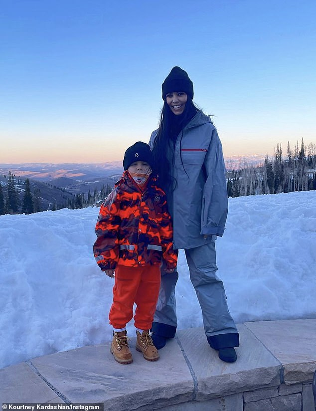 Snow bunny: This past week Kardashian enjoyed a wintry escape to the Deer Valley ski resort in Utah with beau Travis Barker and their respective children; she is seen with her son Reign