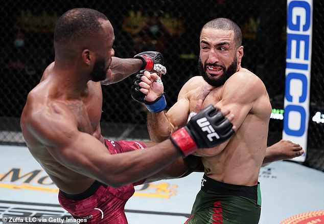 Leon Edwards, pictured here against Belal Muhammad last month, believes he'll beat Nate Diaz
