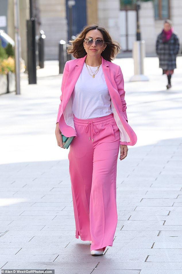 Wow! Myleene Klass had a spring in her step as she arrived for work at Global Studios to present her Smooth Radio show on Tuesday