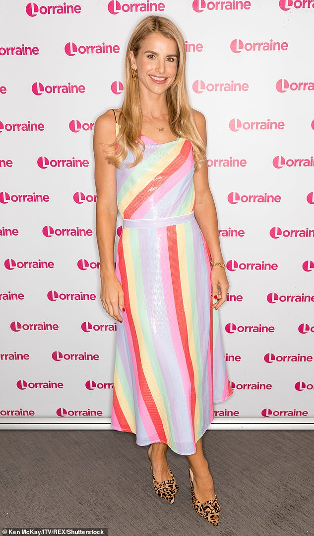 Celebrities love Olivia Rubin designs: Vogue Williams wore this rainbow coloured sequin number back in August 2019
