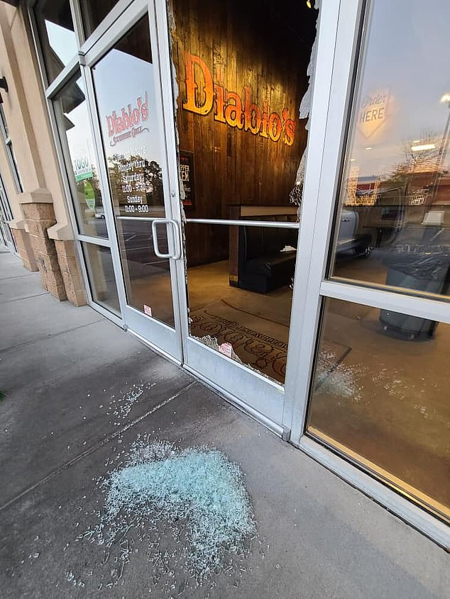 'Our burritos are such a smash hit we've got people breaking in at 4 a.m. for their fix. So if ya see our door looking hurricane fabulous at Wheeler Rd this is why,' Wallace wrote in a Facebook post accompanied by a photo of the restaurant's smashed glass door