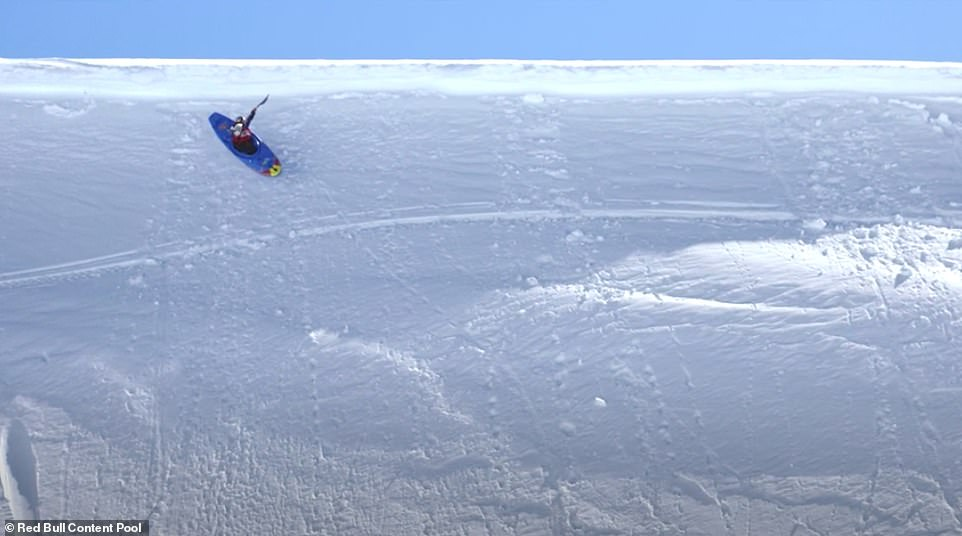 At certain points,Serrasolses flies through the air as he whizzes off razor-sharp edges. He then thuds back down on the compact snow and continues rocketing along