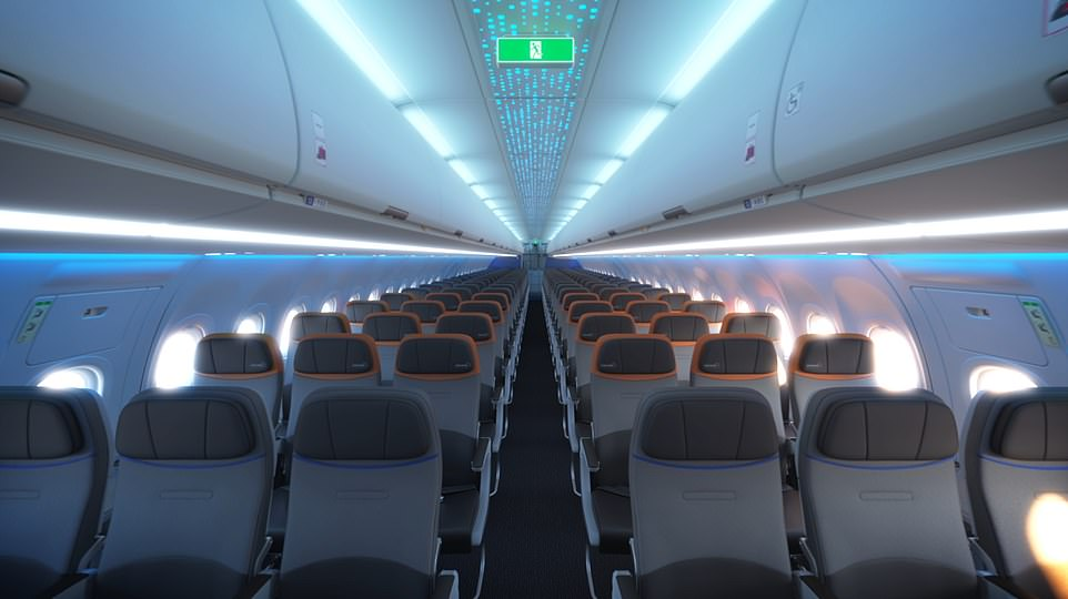 JetBlue has unveiled the economy cabinthat will feature on its new transatlantic flights. The airline claims it will'reinvent what it's like to fly economy across the Atlantic'