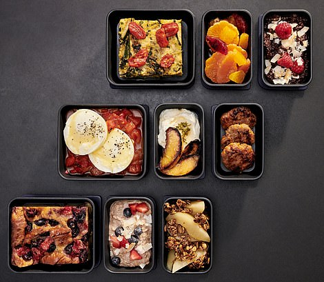 The different breakfast combinations that will be available on JetBlue in its economy cabin
