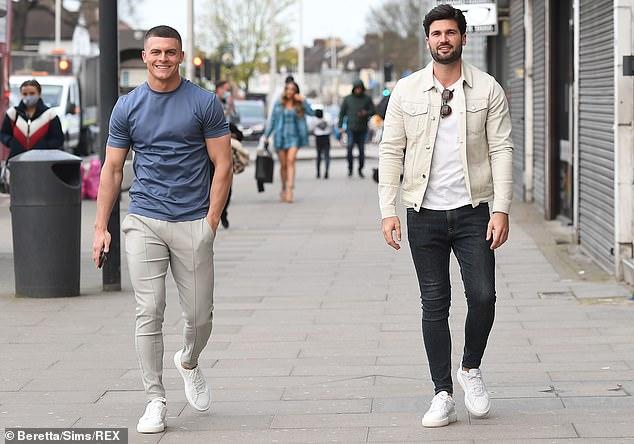 Lads: Amber's boyfriend Dan Edgar, 30, strolled into the filming location alongside Frankie's ex-boyfriend, Harry Lee, 26