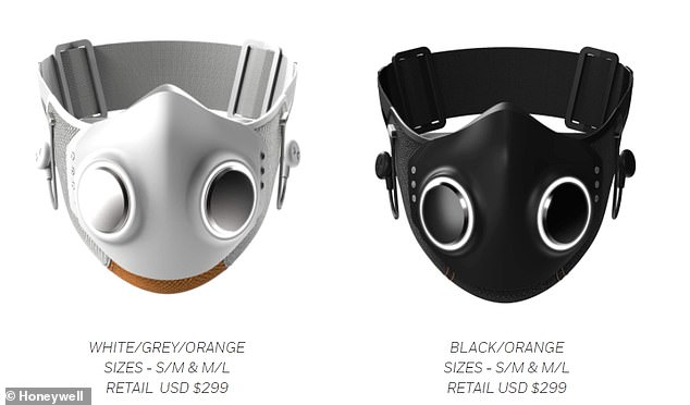 The mask comes in two color combinations: white/gray/orange and black/black/orange. And is set to go on sale Thursday, April 8