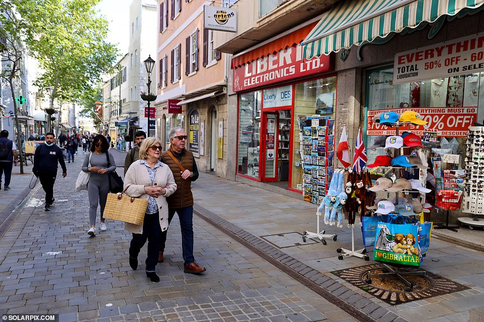 Shops, bars and restaurants are thriving in Gibraltar (pictured) where 90 per cent of adults have had the Covid-19 jab - offering a blissful glimpse into what life could be like when the UK Government's vaccine rollout is complete