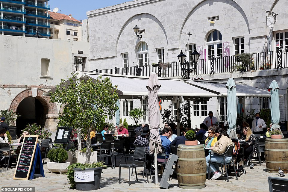 Gibraltar's World Cup qualifier clash against the Netherlands last Tuesday was watched by 600 spectators able to enter Victoria Stadium if they had received their two vaccine doses and tested negative for coronavirus the day of the match. Pictured: Outdoor dining on the Rock