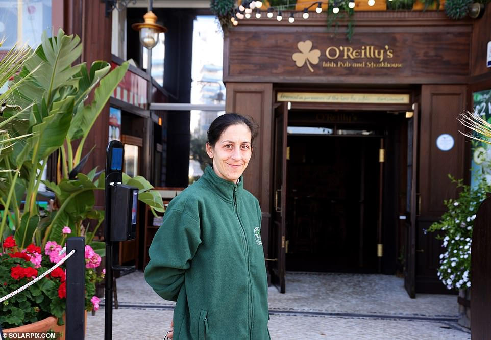 Carmen Panayiotis, the 35-year-old supervisor at O'Reilly's Irish Pub and Steakhouse in upmarket Ocean Village, said: 'It's still fairly quiet at the moment but I reckon by the end of May it's going to go crazy here if Boris Johnson opens the door to holidays abroad'