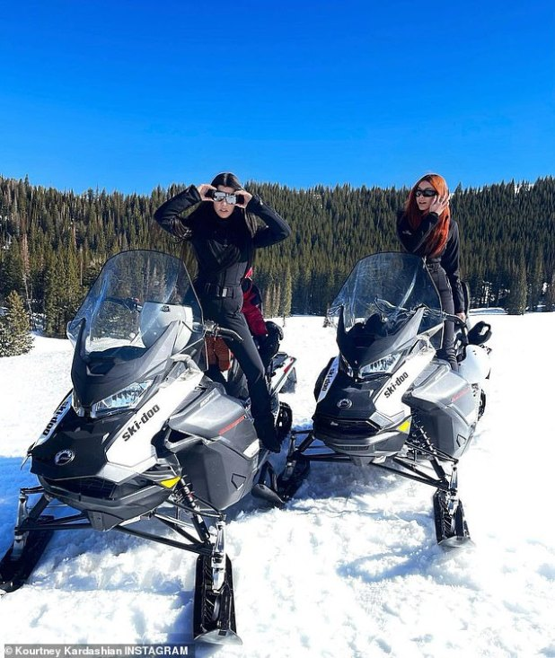 Duo: Kourtney yesterday posted an Instagram photo of herself in Deer Valley, Utah, enjoying a snowmobile ride with Oscar De La Hoya's 22-year-old daughter Atiana.