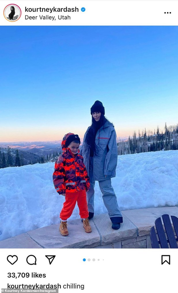 So sweet: Kourtney's kids were with her in Deer Valley too;  one of his Instagram albums of the snowy place included several photos of Reign