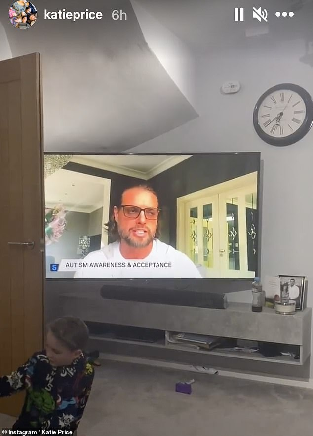Outreach: Katie, whose oldest son Harvey is also autistic, shared several snaps of herself while watching Keith's TV interview about her daughter Mia