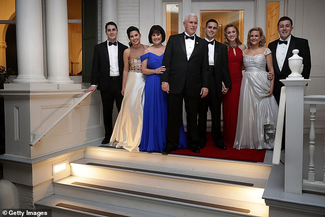 The Pence family are seen on the steps of the house in January 2017 before the inaugural balls