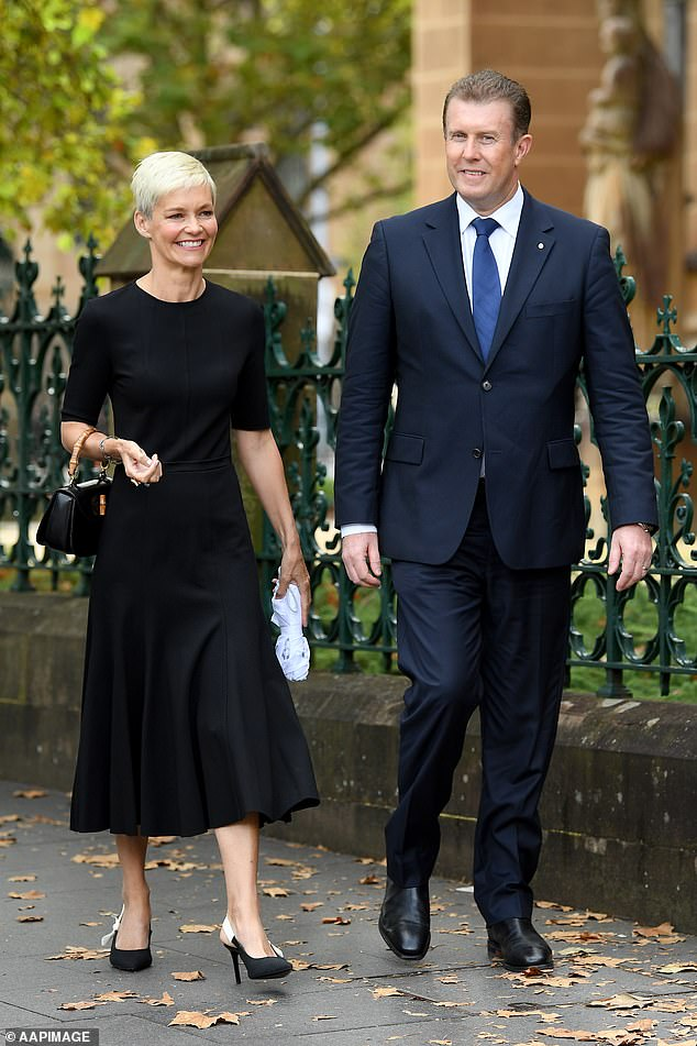 Channel 9 newsreader Peter Overton was accompanied by his wife Jessica Rowe