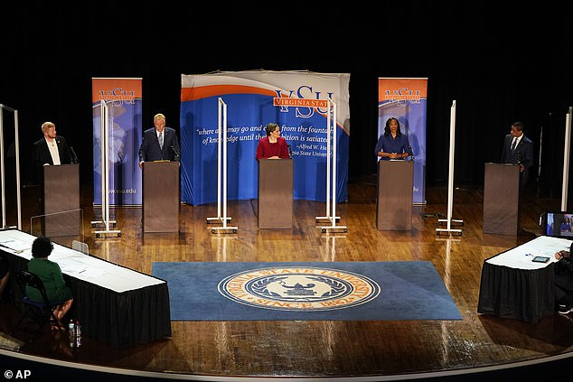 The five candidates for the Democrat nomination to contest November's gubernatorial election: from left - Lee Carter, Terry McAuliffe, Jennifer McClellan, Jennifer Carroll Foy, and Fairfax