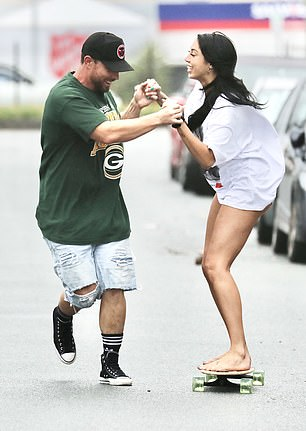 At it again: The interaction was almost identical to an outing taken by Jason and his reality star 'wife' last year, in which he showed Alana how to skateboard