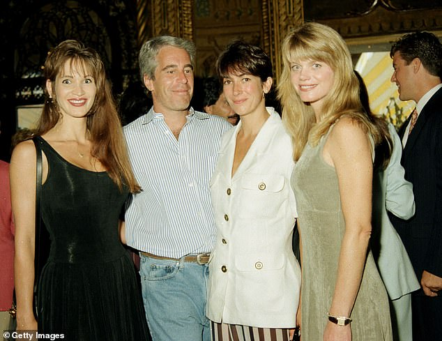 Ghislaine Maxell, second from right, is pictured with Jeffrey Epstein, second left, at a party at the Mar-a-Lago club