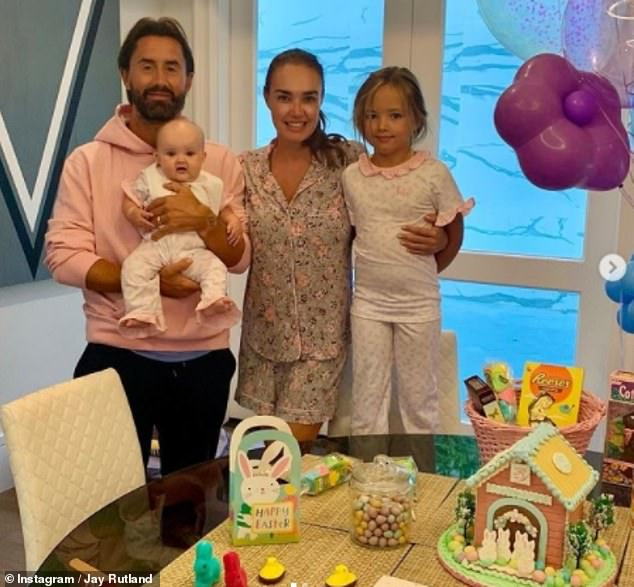 Family: The heiress shared a slew of snaps on Instagram over the weekend of her husband Jay Rutland and their daughters Sophia, seven, and Serena, six months after flying to LA