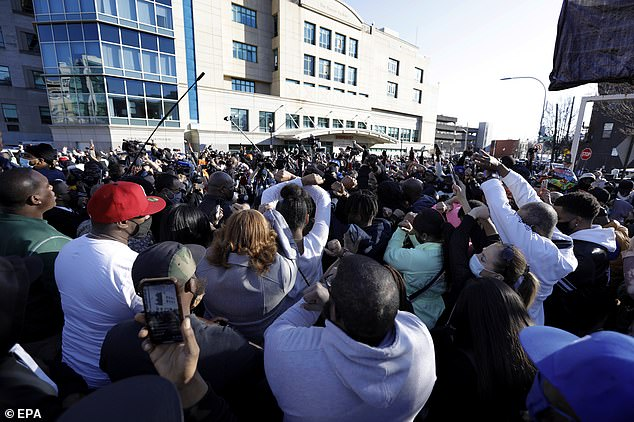 Crowds: Hundreds crowded outside the White Plains Hospital in New York Monday where rapper DMX remains in the ICU following a heart attack, with his supporters chanting his name and praying for him at the emotional vigil