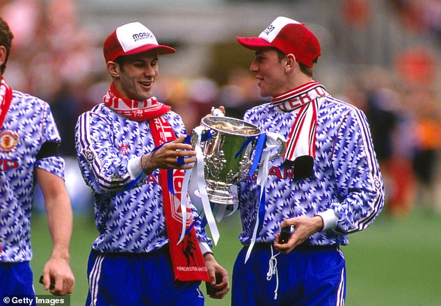 United appear to have taken inspiration from their 1990-92 design worn by Ryan Giggs (left)