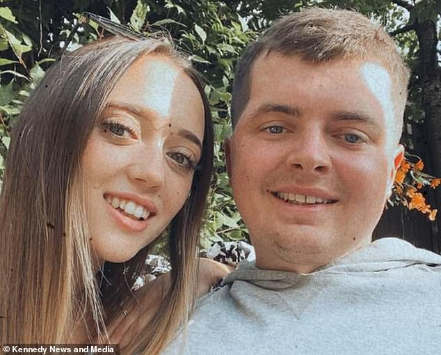 Charlie pictured with his 22-year-old girlfriend Alicia Medina Smith. They had both been watching a film at her student flat when he woke up at 4am and immediately collapsed on the floor, being violently sick and unable to speak