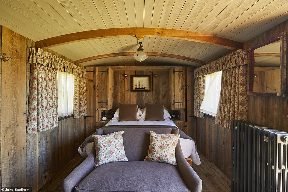 Inside one of the four garden wagons at the recently opened Pig at Harlyn Bay in Cornwall. A stay costs from £295 a night for two people