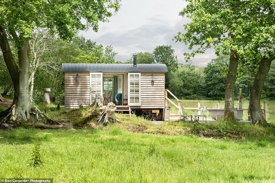The spacious double shepherd's hut in a secluded corner of Beetham Farm at Dimpsey Yonder in Somerset