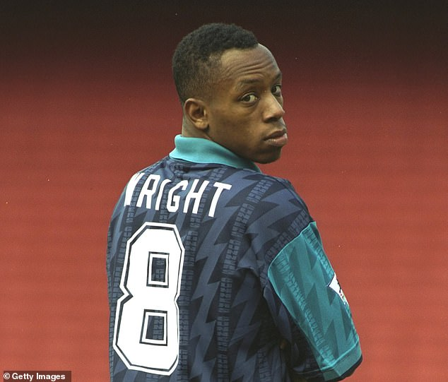 Ian Wright, pictured in 1994, wears one of the models that inspired Adidas