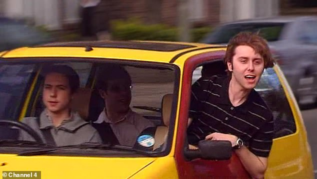 A well known scene from The Inbetweeners in whichJay Cartwright (played byJames Buckley) shouts 'bus w****rs' out the window of the teens' car to people waiting at a bus stop