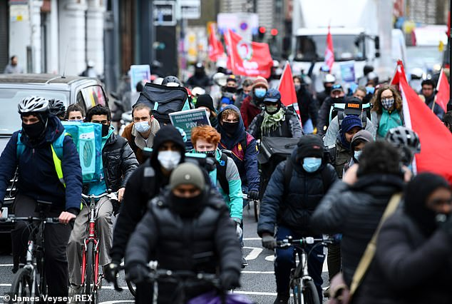 The striking workers want better pay and rights from their bosses in charge at Deliveroo