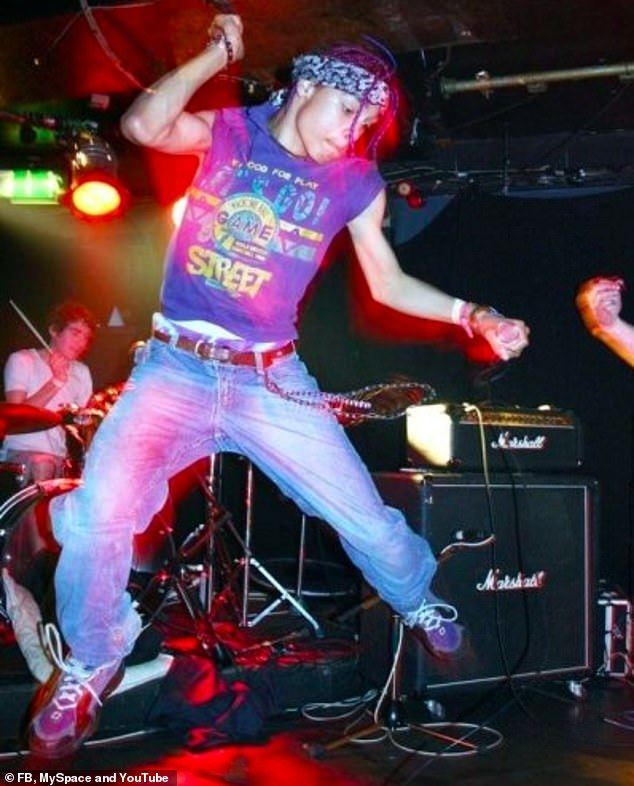 Regé-Jean Page looked worlds away from his high society role in Bridgerton as he rocked purple hair and jammed on stage with his teenage band in unearthed snaps (pictured in 2005)
